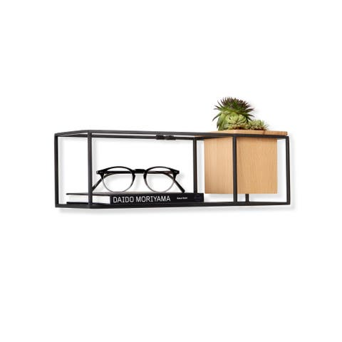 "Umbra 470755 Cubist 4 1/2"" Tall Steel Wall Shelf with Beech Wood Planter by Erika Kovesdi - Natural / Black"