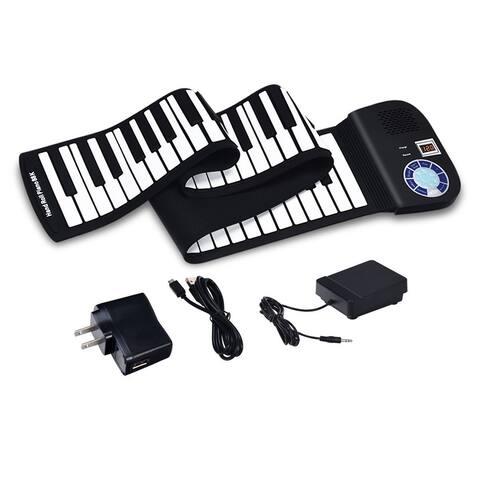 88 Keys Midi Electronic Roll up Piano Silicone Keyboard-Black
