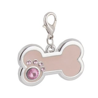 Dog Metal Bone Designed Rhinestone Inlaid ID Tag Pendant Silver Tone Light Pink