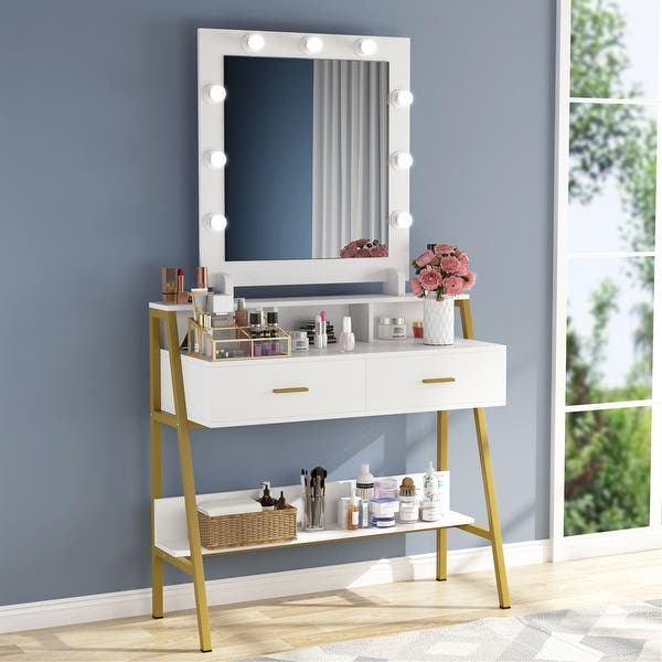 9 Lights 2 Drawers White Gold