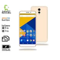 "GSM Unlocked 4G LTE 5.6"" SmartPhone by Indigi (QuadCore Processor @ 1.2GHz + Android 6 + Fingerprint Scanner ) Gold"