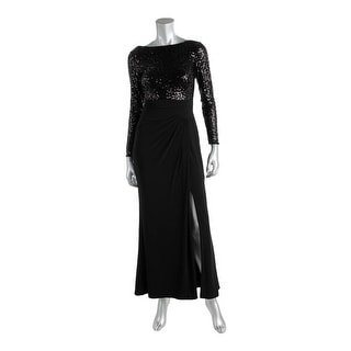 Lauren Ralph Lauren Womens Petites Sequined Low Back Evening Dress