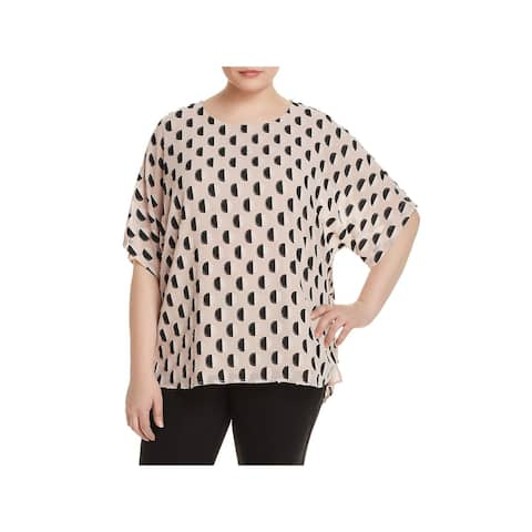 Vince Camuto Womens Plus Pullover Top Jacquard Short Sleeves