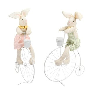Pack of 2 Pink and Green Easter Bunny Couple with Bike Decorations 51""