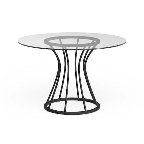 Carbon Loft Bardeen Dining Table in Black Finish and 48in. Glass Top