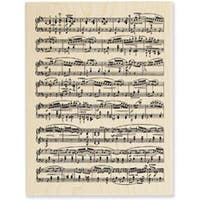 """Music Score - Stampendous Mounted Rubber Stamp 3""""X4.5"""""""