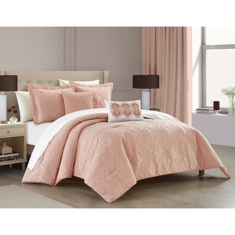 Chic Home Alina 5 Piece Comforter Set Embroidered Design Bedding - Decorative Pillows Shams Included