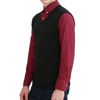Unique Bargains M01 Men V Neck Slim Fit Knit Vest - Black