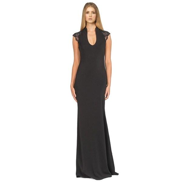 Shop Badgley Mischka Embellished Cap Sleeve Deep V-Neck Evening Gown ...