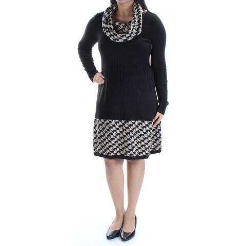 Womens Black Beige Long Sleeve Knee Length Wear To Work Dress Size: L
