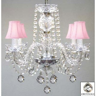 Murano Venetian Style All Crystal Chandelier Lighting With Crystal Balls & Pink Shades