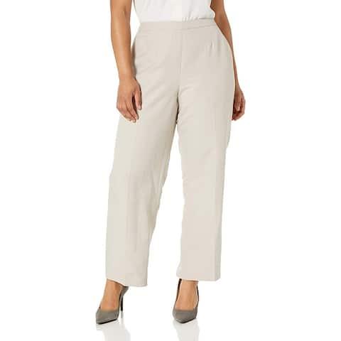 Kasper Womens Dress Pants Stone Beige Size 6 Linen Straight Leg Side-Zip