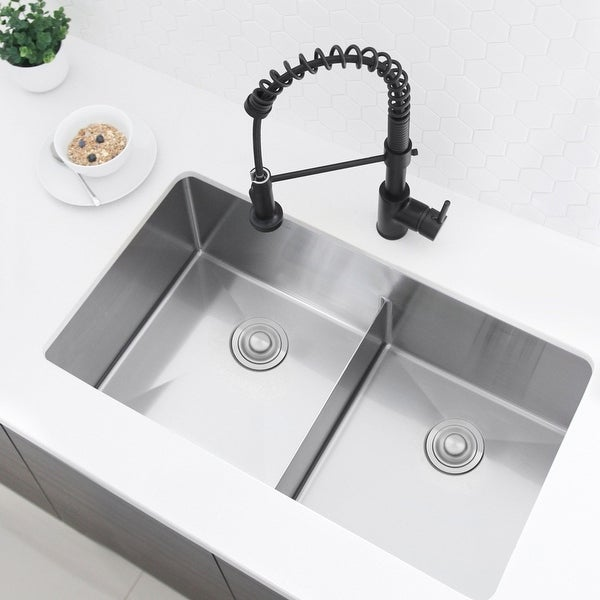 """32""""L x 18""""W Stainless Steel Double Basin Low Divider Undermount Kitchen Sink with Grids and Strainers"""