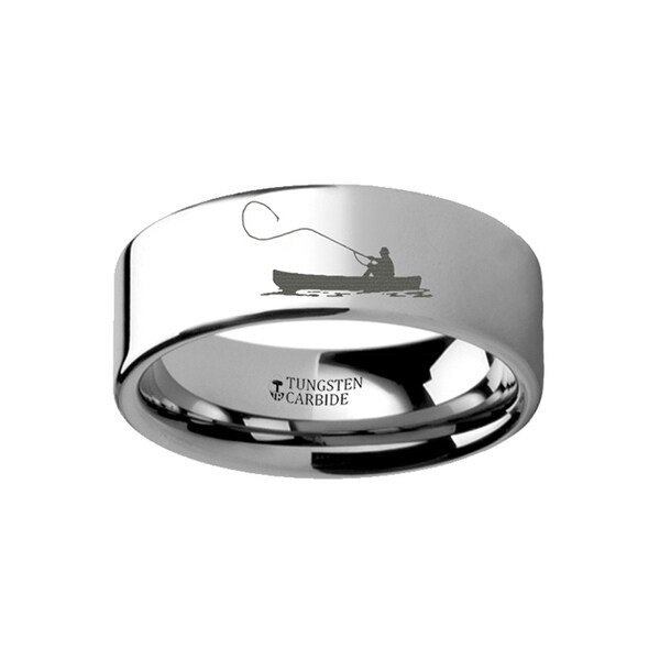 THORSTEN - Hunting Landscape Scene Fishing Boat Fishermen Fish Ring Engraved Flat Tungsten Ring - 4mm