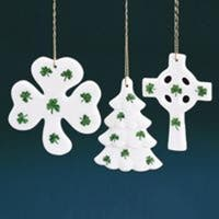 "Club Pack of 36 Porcelain Shamrock Covered Christmas Ornaments 3"" - WHITE"
