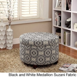 Link to HomePop Large Round Storage Ottoman Similar Items in Ottomans & Storage Ottomans
