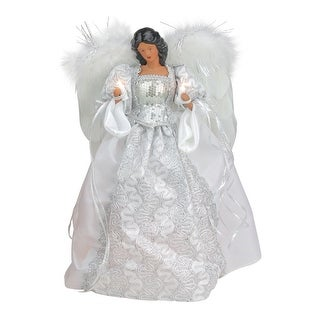 14.5 White and Silver Elegant Feathered Tree Topper