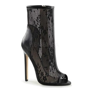 Fabulicious Women's Sexy 1008 Lace Open Toe Bootie Black Polyurethane/Lace