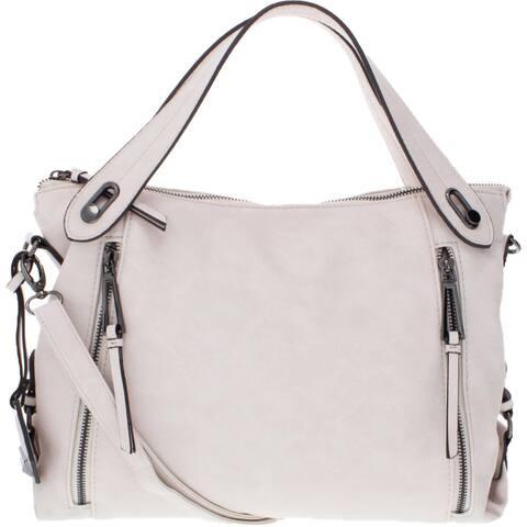 Jessica Simpson Roxanne Women's Faux Leather Convertible Signature Satchel Handbag - Large