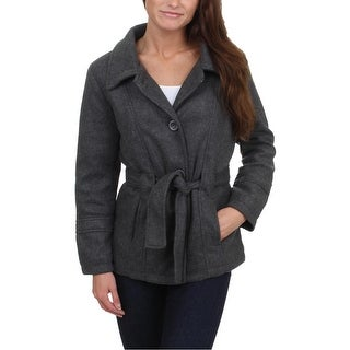 YMI Womens Juniors Pea Coat Faux Wool Lightweight