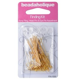 Gold Plated Findings Kit - Assorted Head Pins Eye Pins And Jump Rings