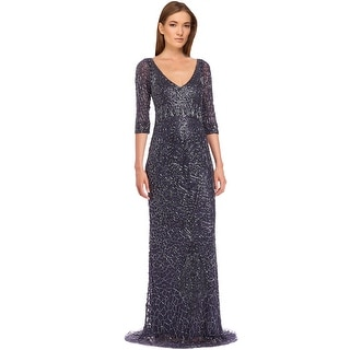 Theia Beaded 3/4 Sleeve V-Neck Long Evening Gown Dress - 4