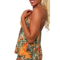 Women's Orange Camo Authentic True Timber Bikini Tankini TOP ONLY Beach Swimwear - Thumbnail 2