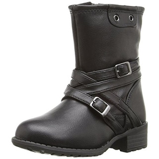 Rachel Shoes Girls Lil Wyoming Motorcycle Boots Buckle Faux Leather