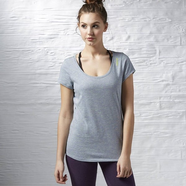 ab245f8c70437 Shop Reebok Women s Training Elements Slub T-Shirt - Melange Gray Neon -  Free Shipping On Orders Over  45 - Overstock.com - 16078273