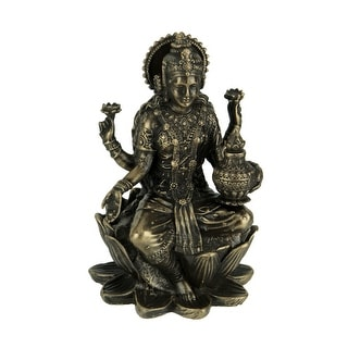 Bronze Finish Lakshmi Hindu Goddess On Lotus Figurine - 3.25 X 2 X 2 inches