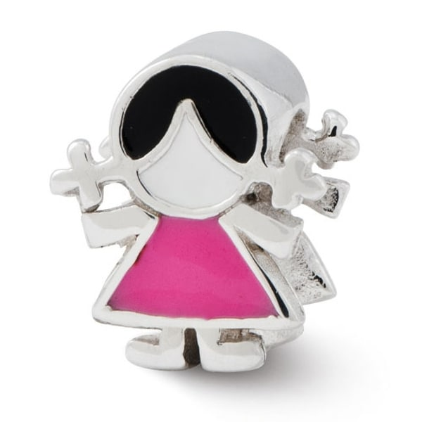 Sterling Silver Reflections Pink Dress Girl Bead (4mm Diameter Hole)