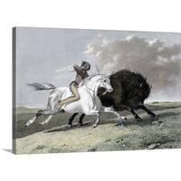 Premium Thick-Wrap Canvas entitled Native American hunting buffalo - Multi-color