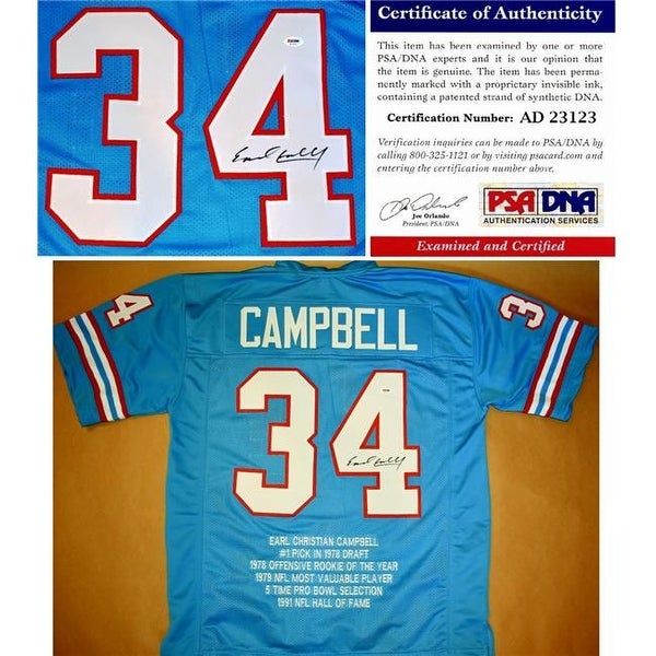 best service a50b4 eeb25 Earl Campbell Autographed Houston Oilers Custom Jersey with