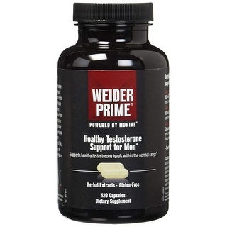 Weider Prime Healthy Testosterone Support For Men 120 Capsules, Dietary Supplement - 2 Months Supply - black - 120 caps