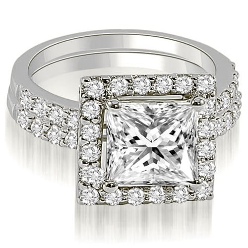 1.21 cttw. 14K White Gold Princess And Round Cut Halo Diamond Bridal Set