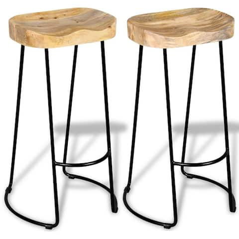 vidaXL Bar Stools 2 pcs Solid Mango Wood