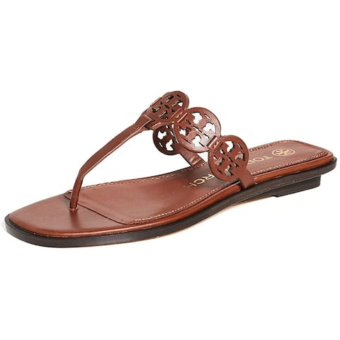 Tory Burch Womens Tiny Miller 10mm Thong Sandals Burnt Cuoio Brown