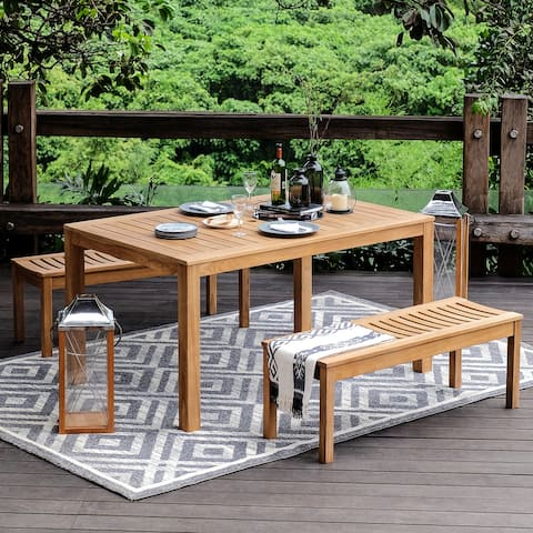 Lowell 3-piece Teak Patio Dining Set by Havenside Home