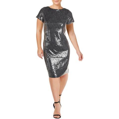 Lauren Ralph Lauren Kaylene Women's Metallic Sequined Boatneck Cocktail Dress - Grey/Multi