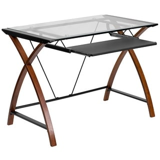 Malcom Glass Home/Office Computer Desk w/Pull-Out Keyboard Tray Wood Frame