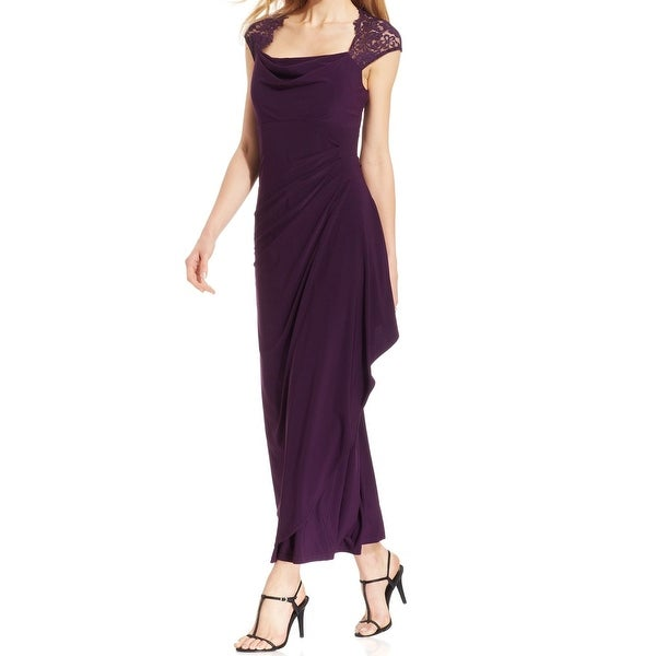 Draped Cowl Neck Dress: Shop MSK NEW Purple Plum Women's Size 8 Cowl-Neck Lace