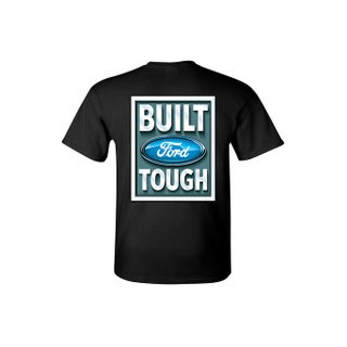 Men's T-Shirt Ford Built Tough Racing Trucks Cars SUV Vintage Repair Shop Tee Front & Back Print (More options available)