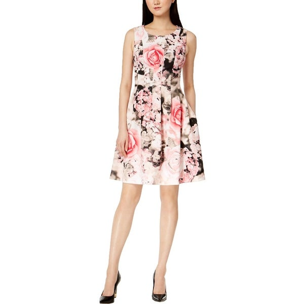 b687f9ed00788 Shop Calvin Klein Womens Petites Party Dress Floral Print Sleeveless ...