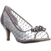 KS35 Maralyn Jeweled Peep-Toe Heels, Silver Satin