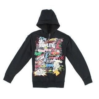 Hurley Black Mens Size Large L Full-Zip Comic Graffiti Hoodie