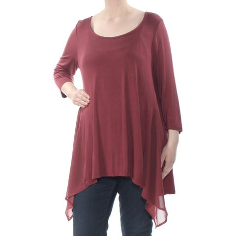 AMERICAN RAG Womens Maroon Pleated Heather 3/4 Sleeve Top Plus Size: 1X