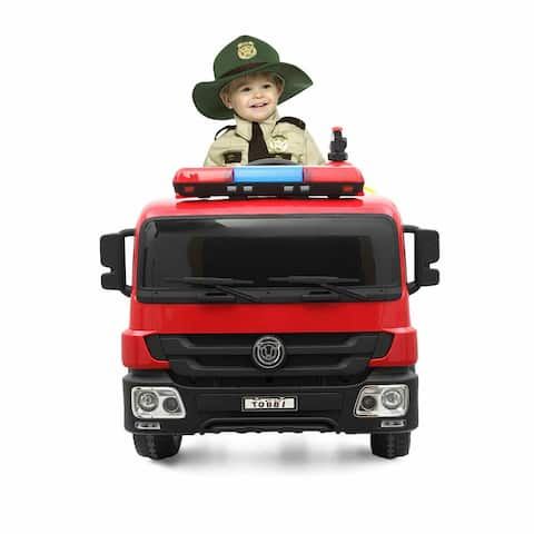 "12 Volt Battery Operated Fire Truck - Red - 7'6"" x 9'6"" - 7'6"" x 9'6"""