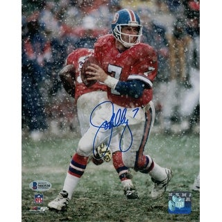 John Elway Autographed Denver Broncos 8x10 Photo Snow BAS
