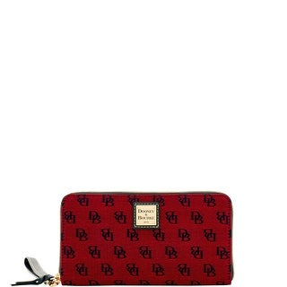 Dooney & Bourke Madison Signature Large Zip Around Wristlet (Introduced by Dooney & Bourke at $128 in Aug 2017) - CRANBERRY
