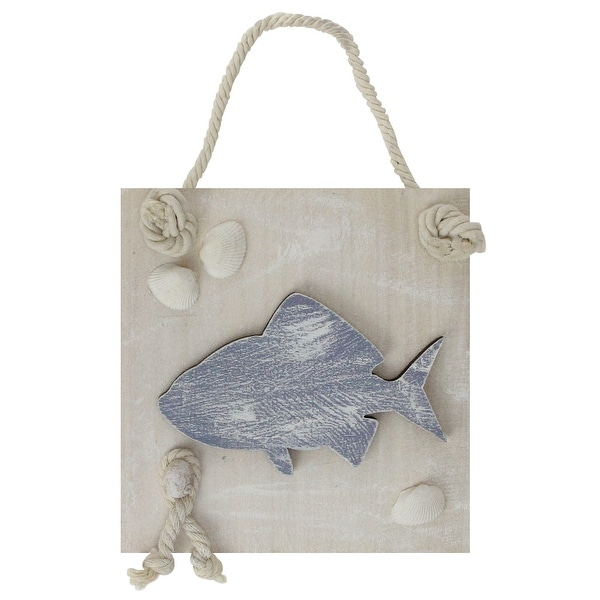 "6"" Blue and White Cape Cod Inspired Fish Wall Hanging Plaque with Seashells - N/A"